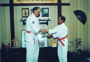 Grandmaster Odo and Hanshi Kriegisch at the St. Marys dojo